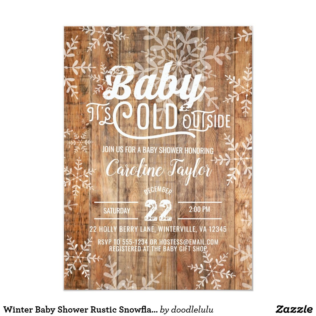 Winter Baby Shower Rustic Snowflakes on Wood Invitation