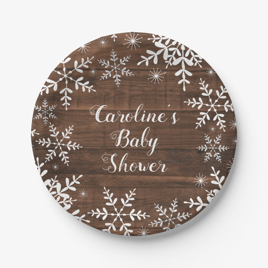 Winter Baby Shower Rustic Snowflakes Paper Plate