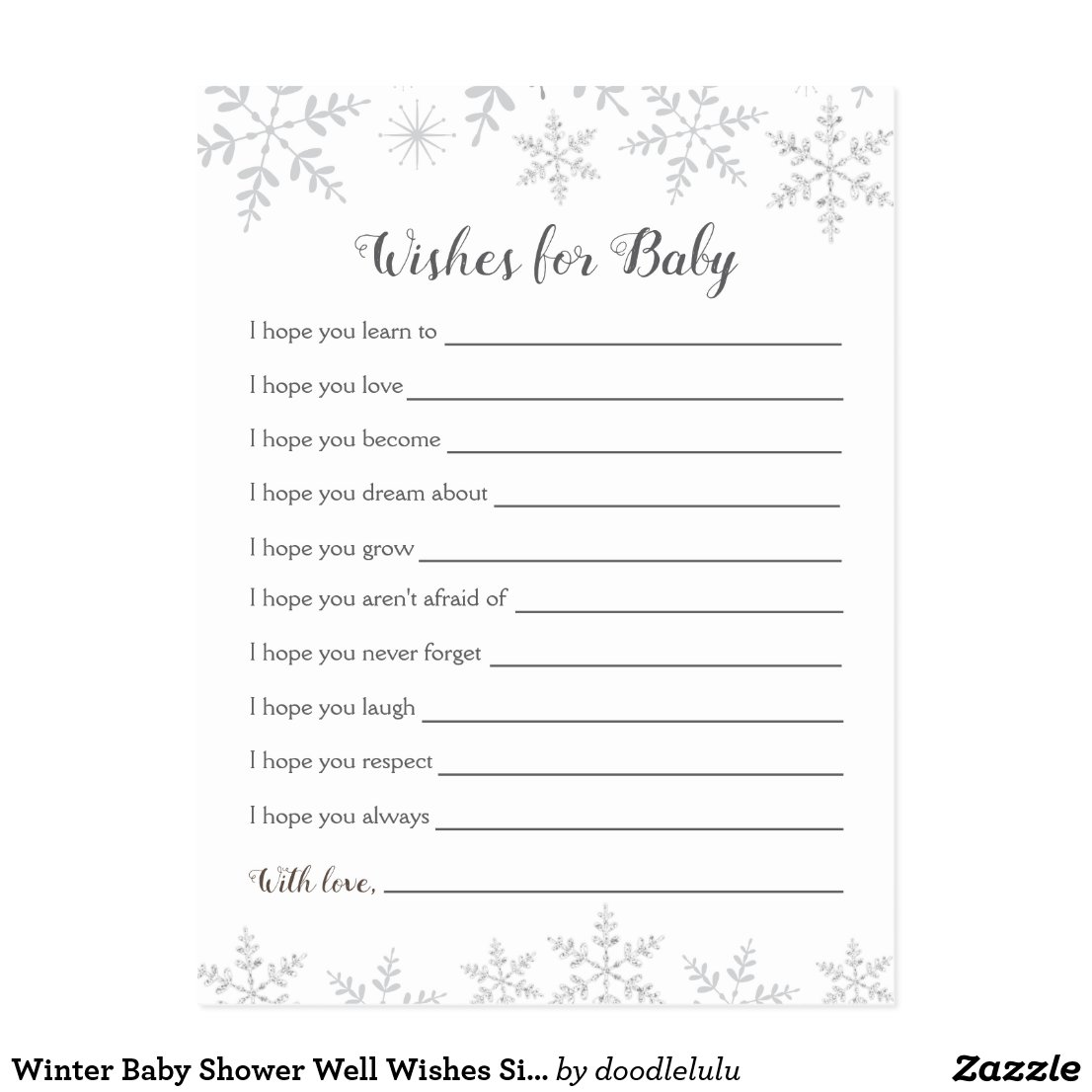 Winter Baby Shower Well Wishes Silver Snowflakes Postcard