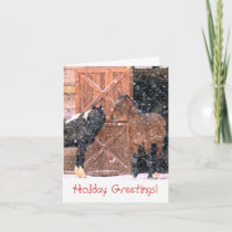 Winter Barn Horse Christmas Greeting Card