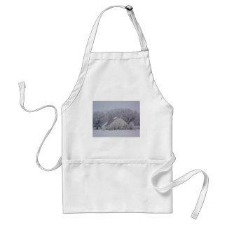 Winter Barn in the Snow Painting Adult Apron