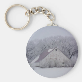 Winter Barn in the Snow Painting Keychain