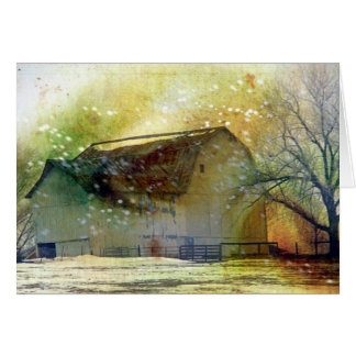 Winter Barn Merry Christmas Card
