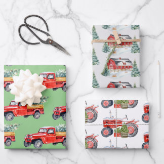 Winter Barn Tractor & Truck Trio Wrapping Paper Sheets