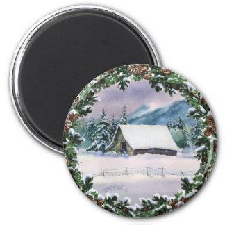 WINTER BARN & WREATH by SHARON SHARPE 2 Inch Round Magnet