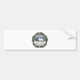 WINTER BARN & WREATH by SHARON SHARPE Car Bumper Sticker