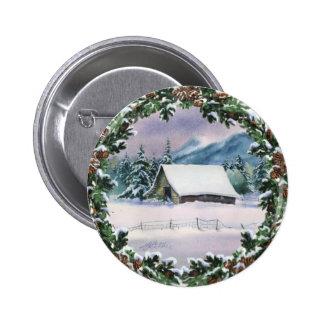 WINTER BARN & WREATH by SHARON SHARPE Pinback Button