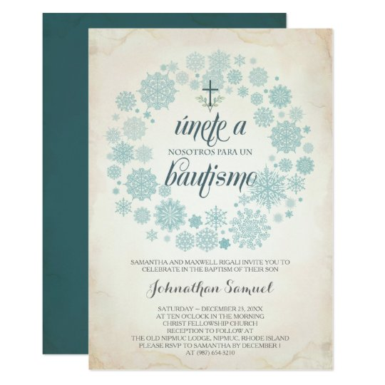winter bautizo invitation template spanish zazzle com