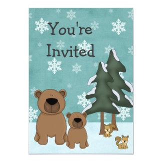 "Winter Bears Woodland Baby Shower Invitation 5"" X 7"" Invitation Card"