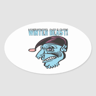 Winter Beast 2 Oval Sticker