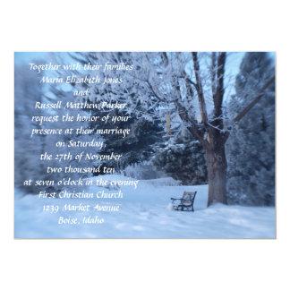 Winter Bench Wedding 5x7 Paper Invitation Card