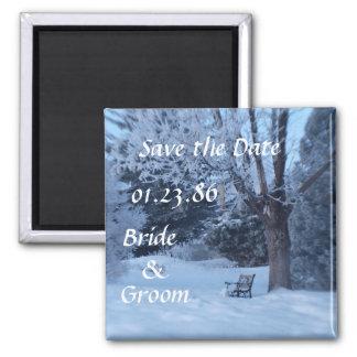 Winter Bench  Wedding Magnet