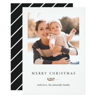 Winter Berries and Stripes Merry Christmas Photo Card