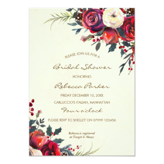 winter berries bridal shower invitation christmas