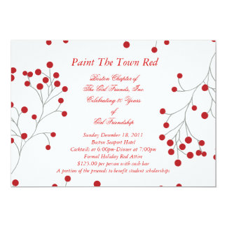 Winter Berries Holiday Invitation Red & White
