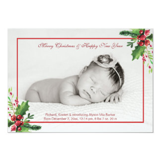 Winter Berries Photo Birth Announce. Holiday Card