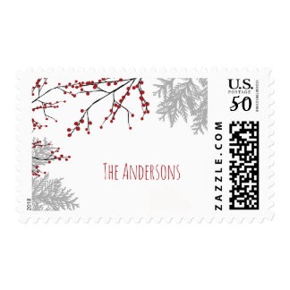 Winter Berry Family Name Postage