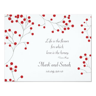Winter Berry White RSVP Card