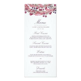 Winter Berry Wreath Wedding Menu Card