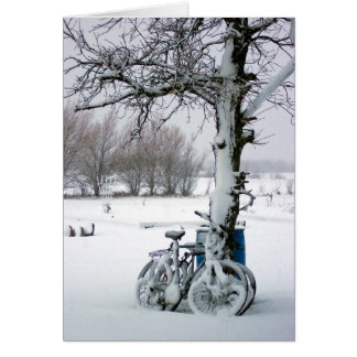 Winter Bicycles in Snow Blank Notecards Card