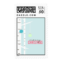 Winter Birch Christmas Tree Ornaments Custom Postage