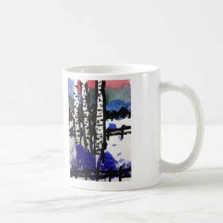 winter birch trees classic white coffee mug