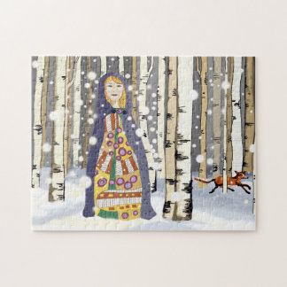 Winter birch woods puzzle