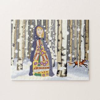 Winter birch woods puzzles