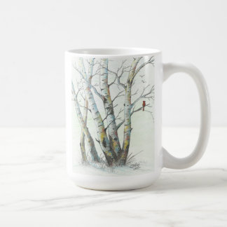 Winter Birches Colored Pencil Art Coffee Mug