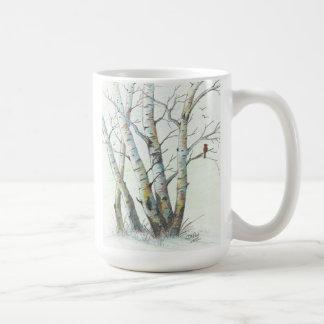 Winter Birches Colored Pencil Art Coffee Mug