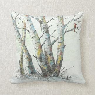 Winter Birches Colored Pencil Art Pillow
