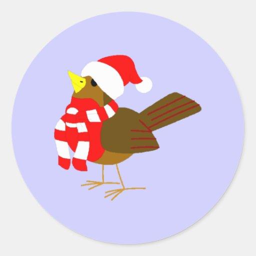 winter bird bird round stickers
