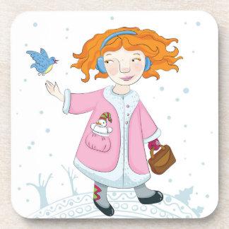 Winter bird coaster