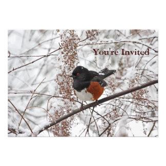 Winter Bird in the Snow Custom Invitations