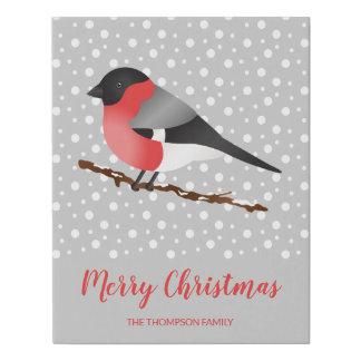 Winter Bird Merry Christmas & Custom Family Name Faux Canvas Print