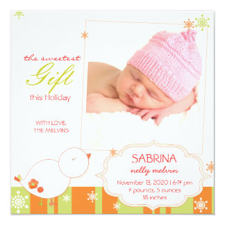 Winter Bird New Baby Girl Photo Birth Announcement