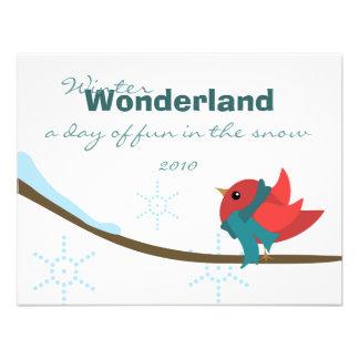 Winter Bird Personalized Invitations