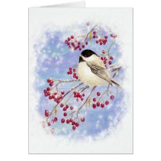 Winter Bird through Snowy Window. Christmas Scene Greeting Card
