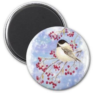 Winter Bird through Snowy Window. Christmas Scene 2 Inch Round Magnet