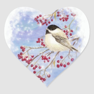 Winter Bird through Snowy Window Christmas Scene Sticker