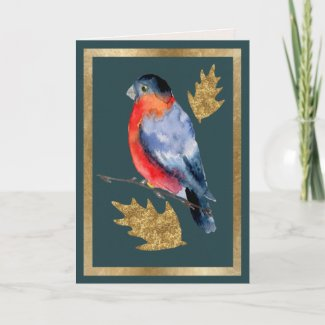 Winter Bird with Golden Holly Leaves Card