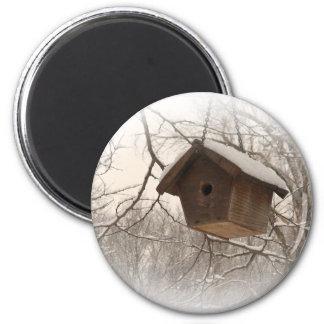 Winter Birdhouse 2 Inch Round Magnet