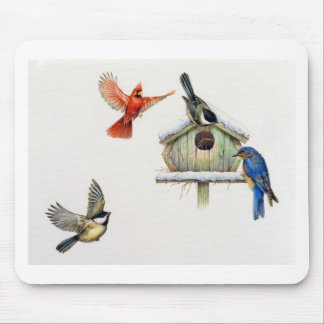 Winter Birdhouse Mouse Pad