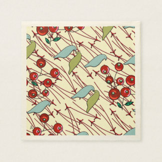 Winter Birds and Berries Napkin