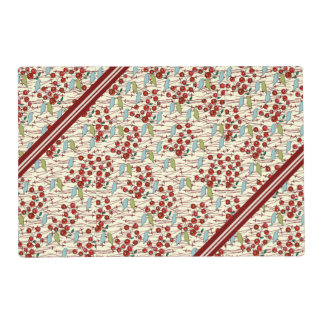 Winter Birds and Berries Plus Stripes Placemat