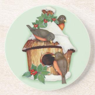 Winter Birds and Birdhouse Beverage Coaster