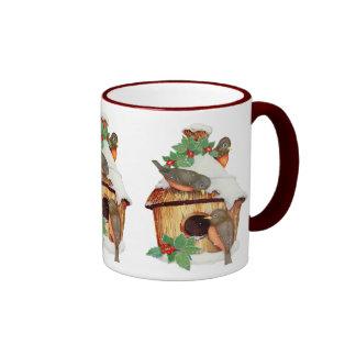 Winter Birds and Birdhouse Coffee Mugs