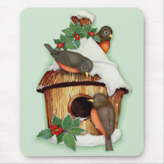 Winter Birds and Birdhouse Mouse Pads