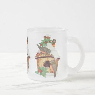 Winter Birds and Birdhouse Mug