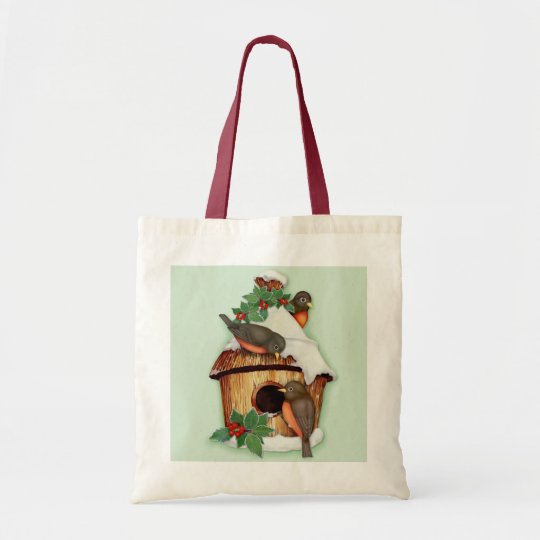 Winter Birds and Birdhouse Tote Bag